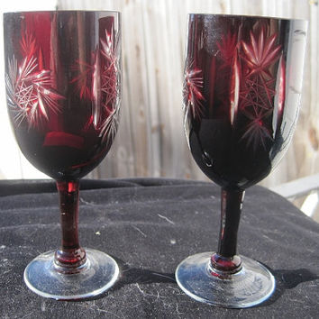 Ruby Cut to Clear Crystal Cordial or Port Glasses Set of 2