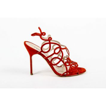 Manolo Blahnik Womens Cut Out Sandal GORI OS STEF RED 080