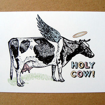 father's day card funny greeting card holy cow card farm country humorous letterhappy etsy stationery