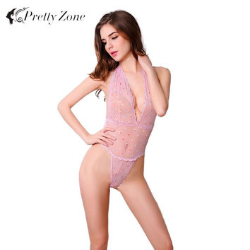 Babydoll Lingerie Sexy Women Sheer Bodysuit Thong Mesh Halter V Neck Crochet Lace Transparent Body Suits Night Gown Sleepwear