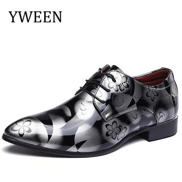 YWEEN Luxury Brand Men's Pointed Toe Dress Shoes Leather With Fashion Groom Wedding Oxford Shoes EUR 38-50
