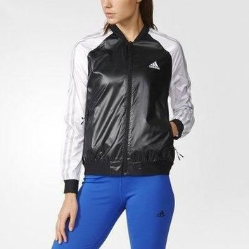 Women¡¯s Adidas Sport Running Long Sleeve Cardigan Jacket Coat Windbreaker