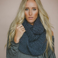 Knitted Scarf, Gray Chunky Infinity, Winter, Cozy Grey Loop Scarf, Stocking Stuffer, Chunky Knitted Scarf in Charcoal (SCF-4040)