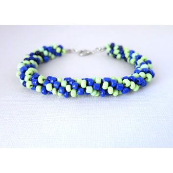 Swampy Pond - Kumihimo Beaded Rope Bracelet - Blue Green