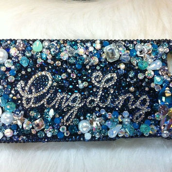 Bling Ocean Blue Diamond Gem Phone cover fr iPhone 5 by Crystaljam