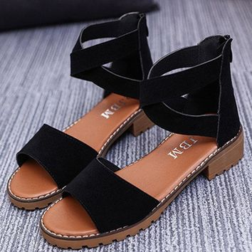 Strappy Zipper Peep Toe Flat Sandals For Women
