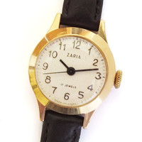 Vintage Russian Gold plated Watch Zarja 17 Jewels