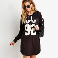 Black Alphanumeric Print Loose Hooded Sweater Dress