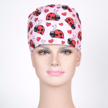 Adorable Lady Bug Scrub Cap