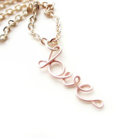 Love Necklace Dainty Blush Pink Feminine Romantic Jewelry