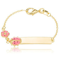 Two Year Warranty Gold Overlay 6 Inch ID Bar Baby Bracelet with a Pink Ladybug & Flower Charm