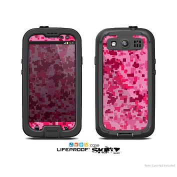 The Hot Pink Digital Camouflage Skin For The Samsung Galaxy S3 LifeProof Case