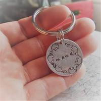 Mama Bear Key Chain, Hand Stamped