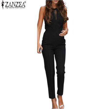 New ZANZEA 2017 Elegant Rompers Women Jumpsuit Fashion Bodysuit Sleeveless Lace Patchwork Romper Playsuits Long Pants  Plus Size