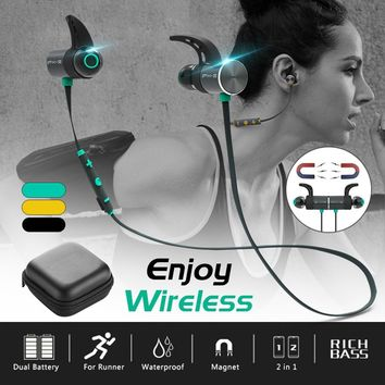 PLEXTONE Outdoor Sport IPX5 Waterproof Magnetic Wireless Bluetooth 4.1 Earphone A2DP In-Ear Earbud Headphone With Mic With Bag C