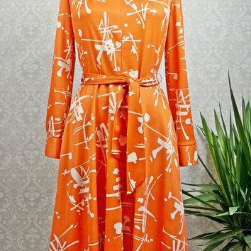 Vintage 1970s Artsy Rust + Midi Dress