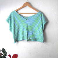 Green Striped Eco Crop Vest/ Spring Sweater Knit Half Shirt/  Large Plus Size