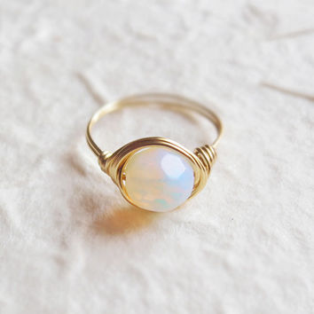 White Opal ring - unique ring - wire wrapped ring