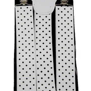 """THICK 1 1/2""""  WHITE WITH BLACK POLKA DOT Adjustable Y-Style Back suspenders-New!"""