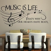 "Music Is Life.. That's Why Our Hearts Have Beats Vinyl Wall Decal Sticker Art 23"" X 10"""