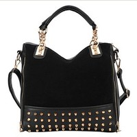 niceeshop(TM)Hobo Top Double Handle Rivet Studded Handle Satchel Purses Handbag
