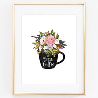 But First Coffee Floral Mug Art Print