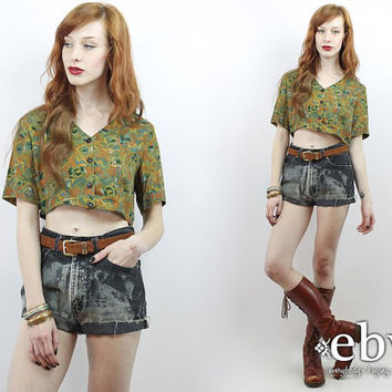 Vintage 90s Green Floral Crop Top S M Cropped Top Cropped Shirt Crop Shirt Midriff Top Cropped Shirt Cropped Blouse Summer Top