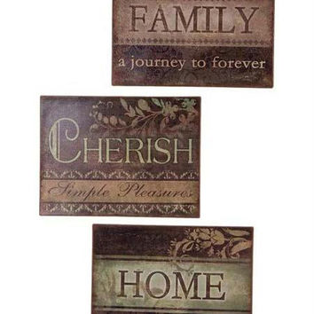 6 Wall Plaques - Family, Cherish And Home Theme