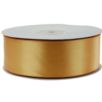 Single Faced Satin Ribbon, 1-1/2-inch, 50-yard, Antique Gold