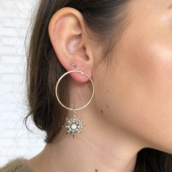Starburst Hoop Earrings in Gold