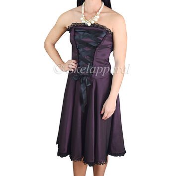 Gothic Rockabilly Purple Satin Corset Lace-up Dress