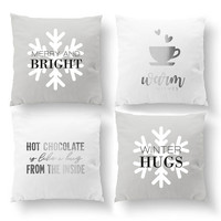 SET of 4 Pillows, Merry And Bright, Warm Wishes, Christmas Pillow, Xmas Pillow, Throw Pillow, Gold Pillow, Cushion Cover, Decorative Pillow