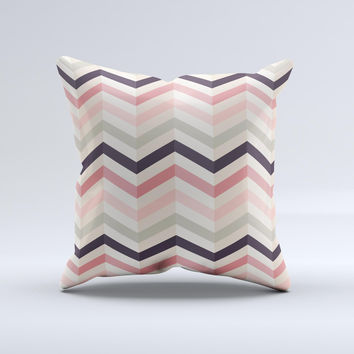 Pink-Tan-Black Zigzag Pattern ink-Fuzed Decorative Throw Pillow