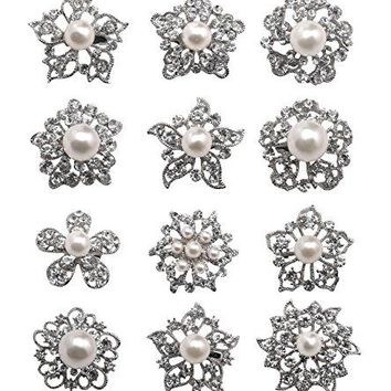 Lvow Mixed Designs Crystal Floriated Brooches Scarves Collar Pin Corsage Bouquet Kit Pack of 12