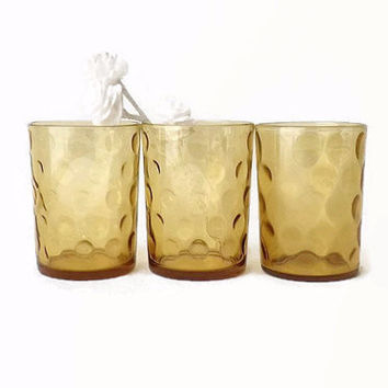 3 Vintage Amber Juice Glass, Kitchen Tumbler Glasses