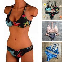Pink Bandage Women Bikini Set Beachwear Swimming Sexy Female Padded Swimsuit crochet Swimwear Bathing Suit Bra Top Bottom Bikini