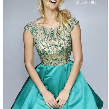 Sherri Hill 32273 Emerald/Green Dress: Short/Knee Length, Scoop