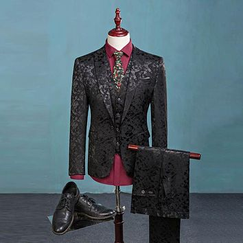 Men's Paisley Floral Single Breasted Three-Piece Suit