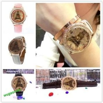 Hot Women Unise Crystal Eiffel Tower Leather Awesome Quartz Wrist Watch