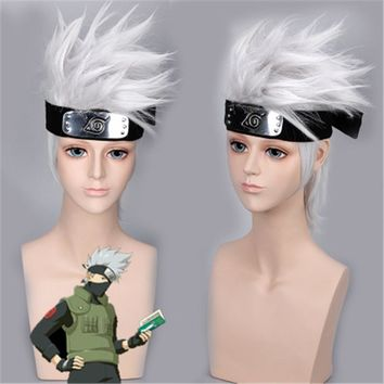 NARUTO Hatake Kakashi Costumes Wigs Silver White Short Hair With Headband