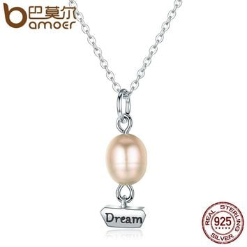 Genuine 925 Sterling Silver Freshwater Pearl Dream Air Balloon Stamp Dream Pendant Necklaces Jewelry Bijoux SCN076