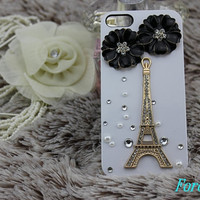 Eiffel tower iphone case, i phone 4 4s 5 case,cool cute iphone4 iphone4s 5 case,stylish plastic rubber cases cover, Artificial Swarovski