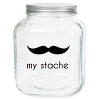 My Stache Jar The Handlebar Mustache Glass by olivetreemonograms