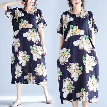 Women Summer Plus Size Hawaiian Long Dress Floral Print Linen Female Casual Beach Vestidos Blue 2017 New Dresses Pocket Clothing
