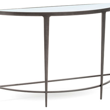 "Keeling 46"" Mirrored Demilune, Gray, Console Table"