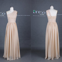 New Arrival Champagne One Shoulder Chiffon Long Bridesmaid Dress/Simple Wedding Party Dress/Maid of Honor Dress/Beach Wedding Dress DH247