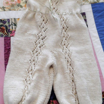 Onesuit - Hand Knitted Baby Suit - Handmade Wool  Baby Lace Knit - New Born Baby - Knitted Baby All in one - Woolen Baby Top