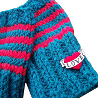 Teal and Red Striped Fingerless Gloves Heart by StitchesandHearts