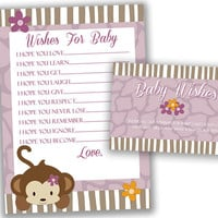 Wishes for Baby Printable - Wishes for Baby Girl - Purple Jungle Cocalo Jacana Baby Shower - Instant Download - Monkey - Lavender Safari
