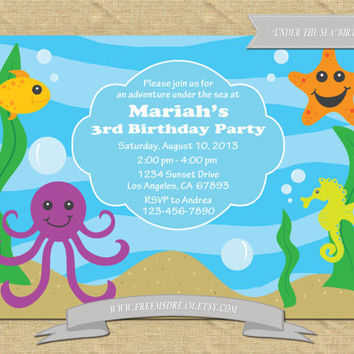 under the sea themed birthday party invitations printable - Under The Sea Party Invitations
